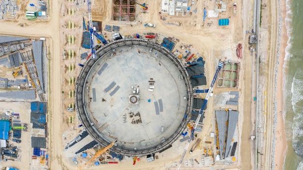 Widok z lotu ptaka rafineria zbiorników naftowych budowa