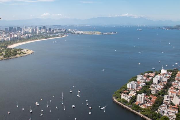 Widok z lotu ptaka rio de janeiro w brazylii.