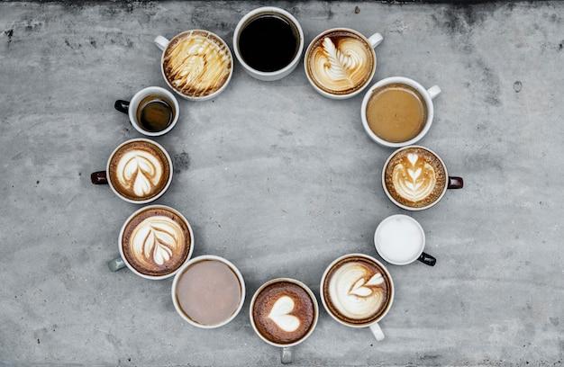 Widok z lotu ptaka różnorodnej kawy