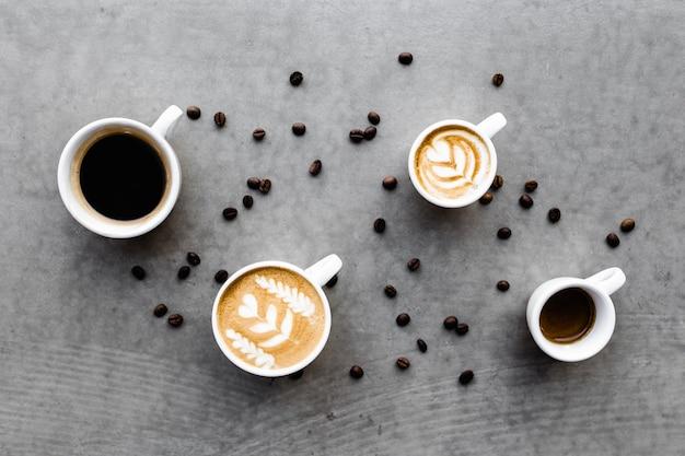 Widok z lotu ptaka różnych kaw.