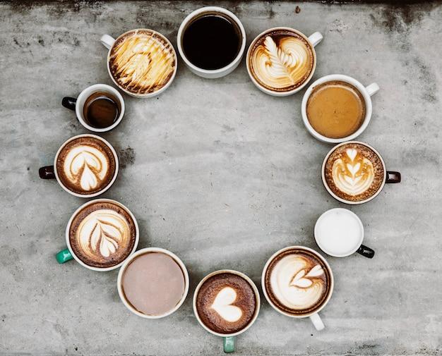 Widok z lotu ptaka różnych kaw