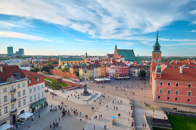 Widok z lotu ptaka starego miasta w warszawie, polska