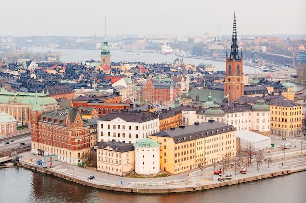 Widok z lotu ptaka sztokholmskiego starego miasta