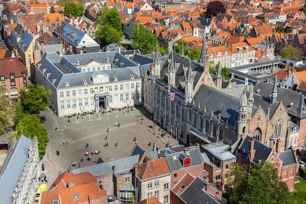Widok z lotu ptaka w brugii (brugge), belgia