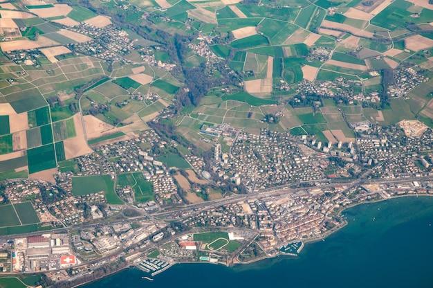 Widok z lotu ptaka w lozannie, szwajcaria