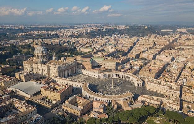 Widok z lotu ptaka watykanu, rzym, włochy