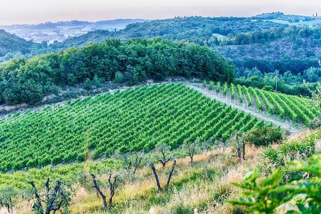 Widok z lotu ptaka wieś w monteriggioni, włochy