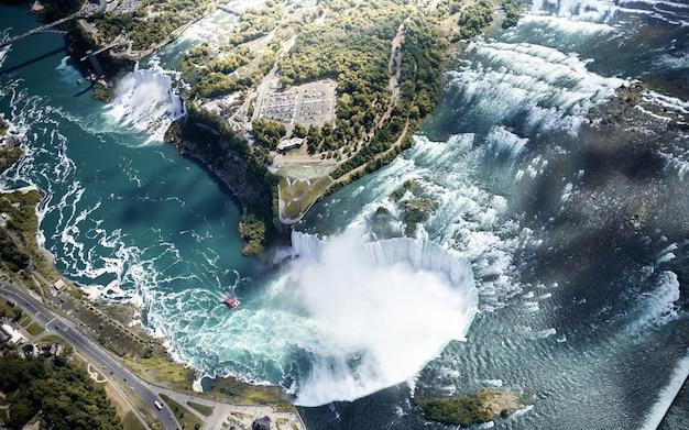 Widok z lotu ptaka wodospad niagara kanada i usa
