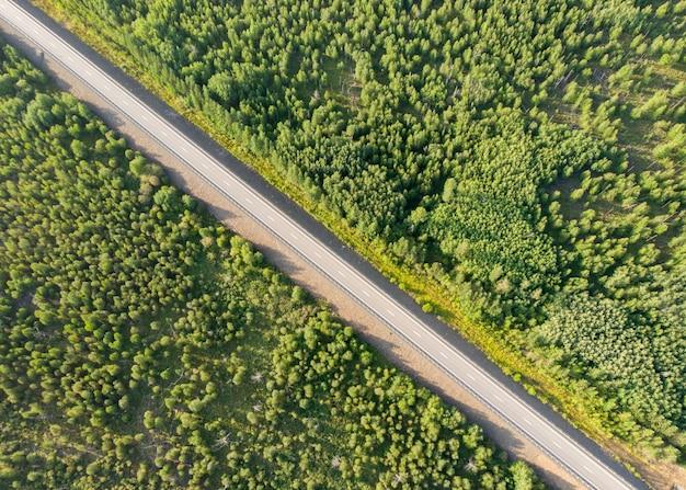 Widok z lotu ptaka z drona pustej wiejskiej drogi między lasami w słoneczny dzień