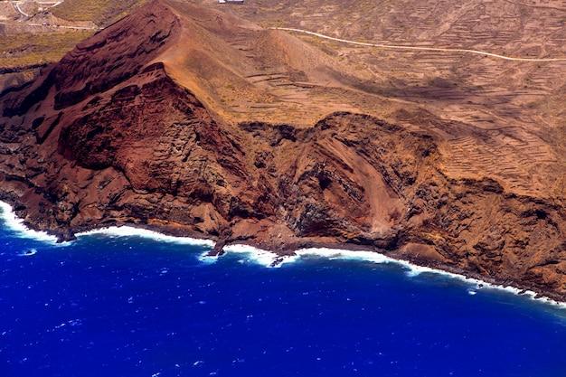 Widok z lotu ptaka z samolotu la palma