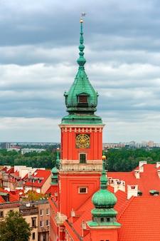 Widok z lotu ptaka zamek królewski w warszawie, polska.