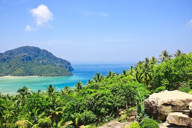 Widok z najwyższego punktu wyspy phi-phi w tajlandii. azja