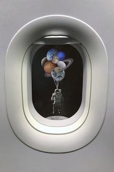 Widok z okna iluminatora na astronautę z balonami w kształcie planet w układzie słonecznym