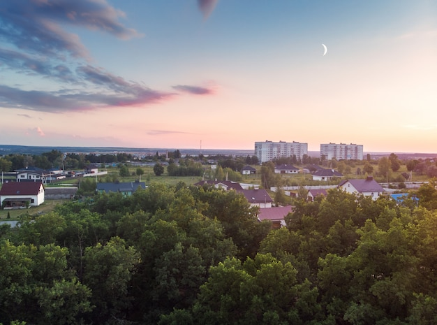 Widok z powietrza na las, domy i pola wsi.