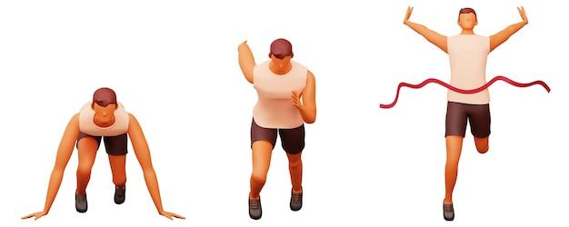 Widok z przodu 3d młody człowiek działa krok po kroku na białym tle.