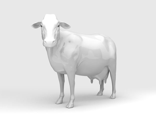 Widok z przodu białej ceramicznej krowy. renderowania 3d.
