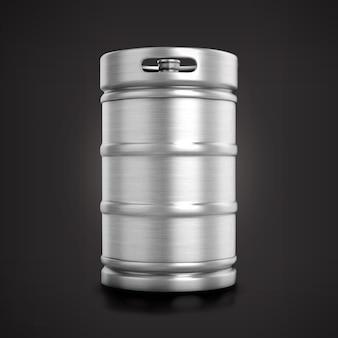 Widok z przodu błyszczący metaliczny beczka piwa na białym tle na matowym tle.