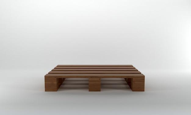 Widok z przodu brązowa drewniana paleta renderowania 3d