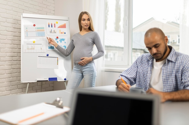 Widok z przodu ciężarnej bizneswoman daje prezentacji, podczas gdy współpracownik robi notatki