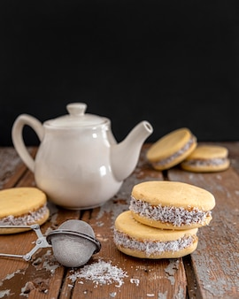 Widok z przodu elicious alfajores cookies