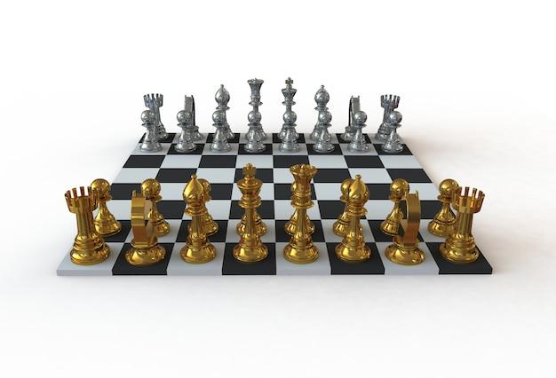 Widok z przodu figury szachowe na planszy gry na białym tle, renderowania 3d