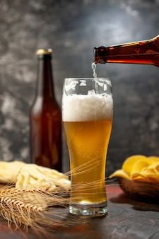 Widok z przodu kieliszek niedźwiedzia z butelką cips i serem na lekkim winie zdjęcie alkohol napój kolor przekąski