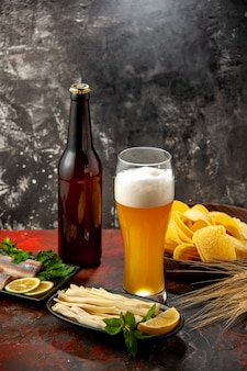 Widok z przodu kieliszek niedźwiedzia z serem i rybą na lekkiej przekąsce wino zdjęcie kolor alkohol