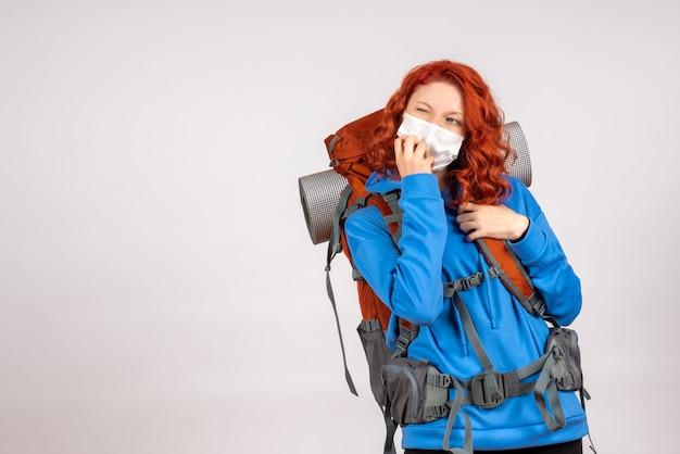 Widok z przodu kobiet turystycznych w masce z plecakiem myślenia