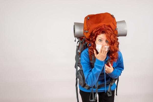 Widok z przodu kobiet turystycznych w masce z plecakiem
