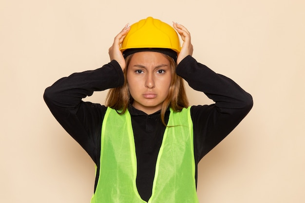 Widok z przodu kobieta konstruktor w żółtej koszuli hełmu, pozowanie, mając ból głowy na białej ścianie