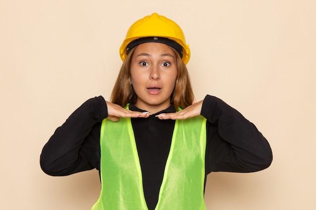 Widok z przodu kobieta konstruktor w żółtej koszuli hełmu, pozowanie na białej ścianie
