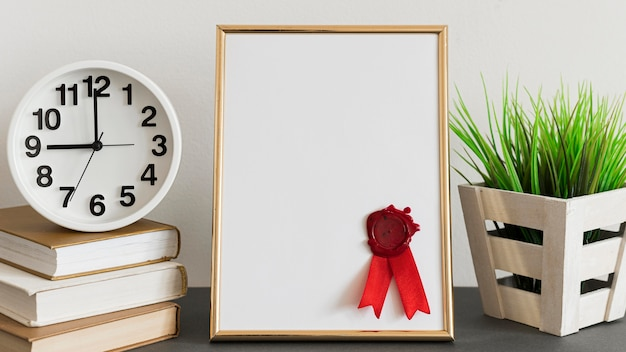 Widok z przodu kopia przestrzeń szablon certyfikatu dyplom edukacji