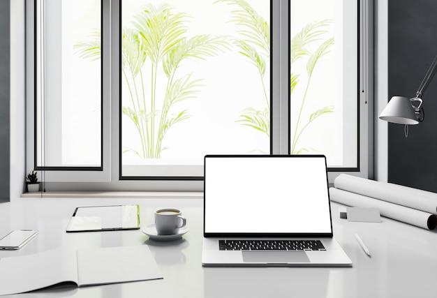 Widok z przodu laptopa pusty biały ekran w domowym miejscu pracy