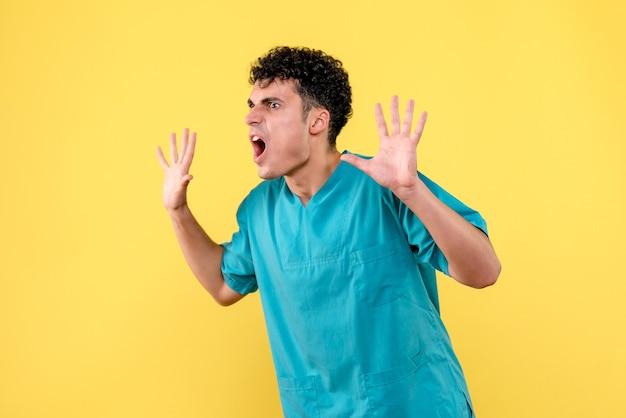 Widok z przodu lekarz lekarz mówi o zaburzeniach nerwowych