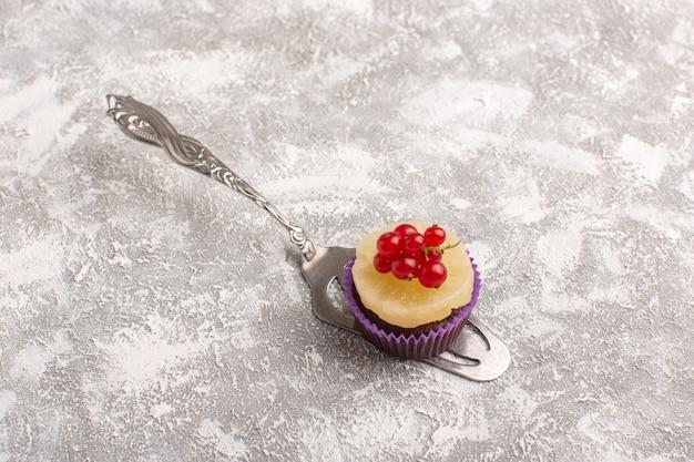 Widok z przodu małe czekoladowe ciastko z żurawiną na szaro