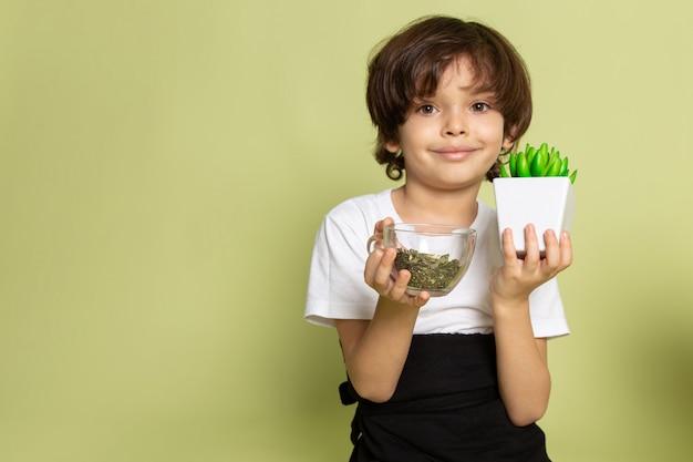Widok z przodu małego chłopca trzymającego gatunki i zieloną roślinkę w białej koszulce na kamiennej podłodze