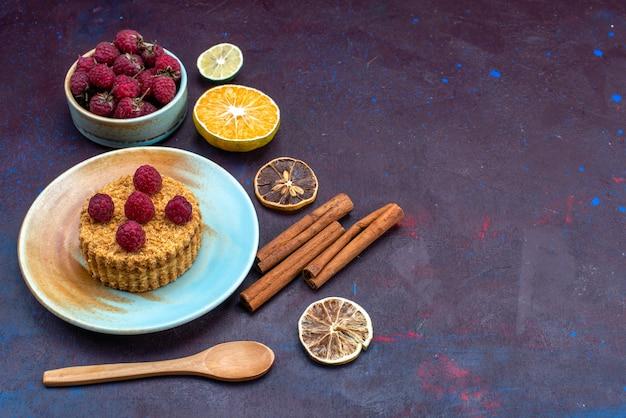 Widok z przodu małego okrągłego ciasta ze świeżymi malinami wewnątrz talerza z owocami na ciemnoniebieskiej powierzchni