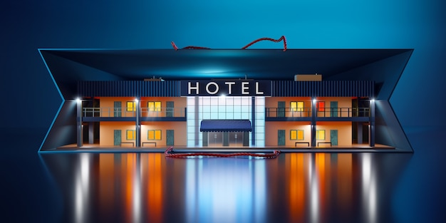 Widok z przodu miniaturowego hotelu w papierowej torbie.