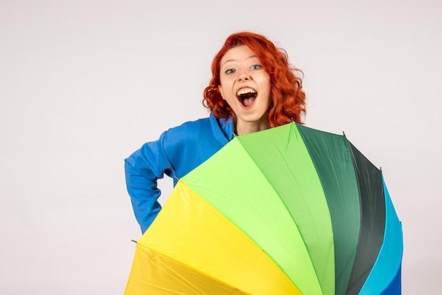 Widok z przodu młodej kobiety z kolorowym parasolem na białej ścianie