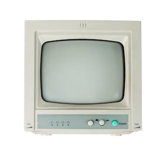Widok z przodu monitora retro na białym tle.