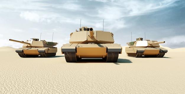 Widok z przodu na grupę ciężkich czołgów wojskowych poruszających się w pustynnym krajobrazie