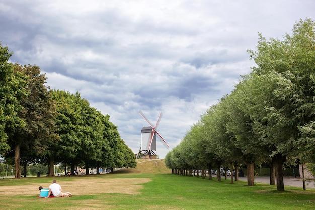 Widok z przodu na tradycyjny wiatrak z czerwonymi skrzydłami pod czystym, błękitnym niebem na zielonym wzgórzu w brugii