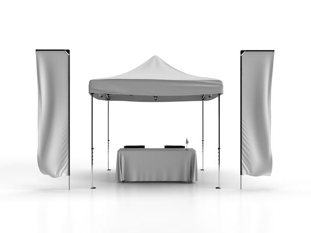Widok z przodu namiotu altanka z teleskopowymi flagami banerowymi obrus z dwoma krzesłami reżyserskimi