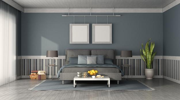 Widok z przodu nowoczesnej sypialni z niebieskim i szarym podwójnym łóżkiem - renderowanie 3d