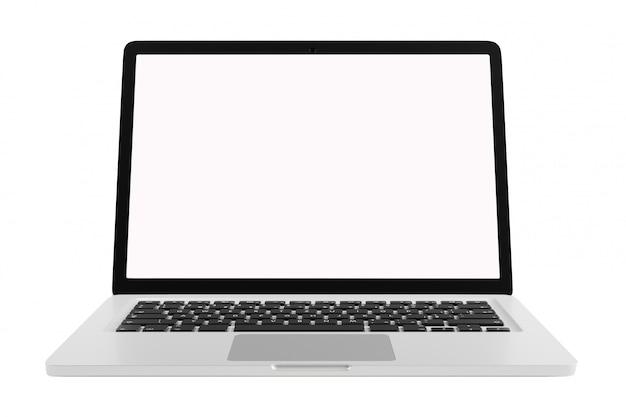 Widok z przodu nowoczesny komputer laptop pusty ekran na białym tle