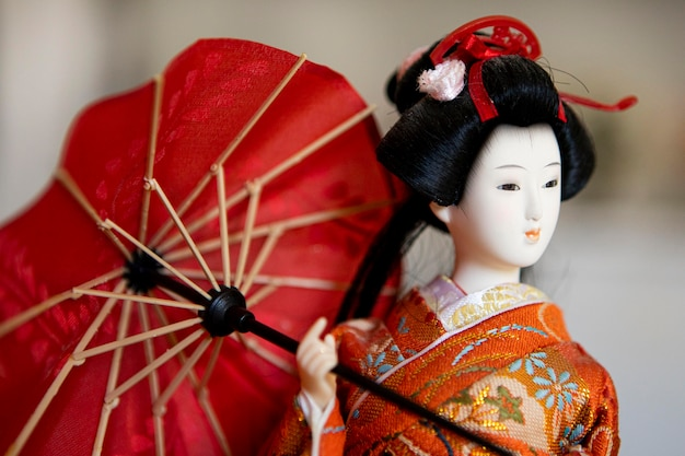 Widok z przodu pięknej lalki azjatyckiej
