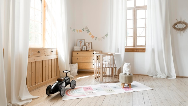 Widok z przodu pokoju dziecięcego z rustykalnym wystrojem wnętrz