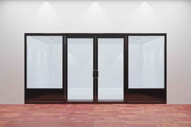 Widok z przodu pustej witryny sklepowej. konstrukcja z czarną aluminiową i szklaną czerwoną podłogą. renderowanie ilustracji 3d.