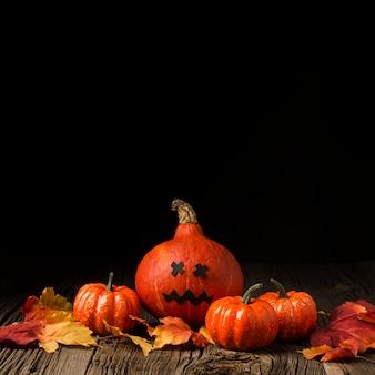 Widok z przodu straszne dynie halloween