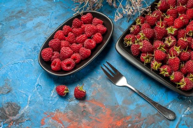 Widok z przodu świeże czerwone maliny wewnątrz czarnej tacy na niebieskim tle roślina drzewo kolor dzikie dojrzałe jagody owocowe